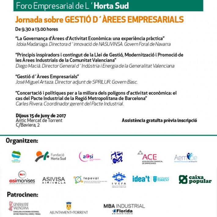 Jornada sobre Gestió d'àrees empresarials, Torrent 15 de juny, organitza per Foro Empresarial de L'Horta Sud.