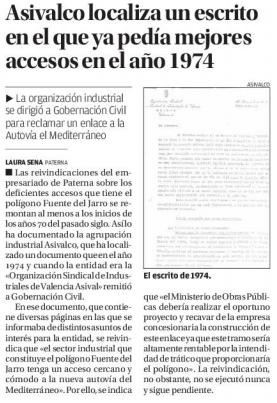 ASIVALCO (Paterna) localiza un escrito en el que ya pedía mejores accesos en el año 1974